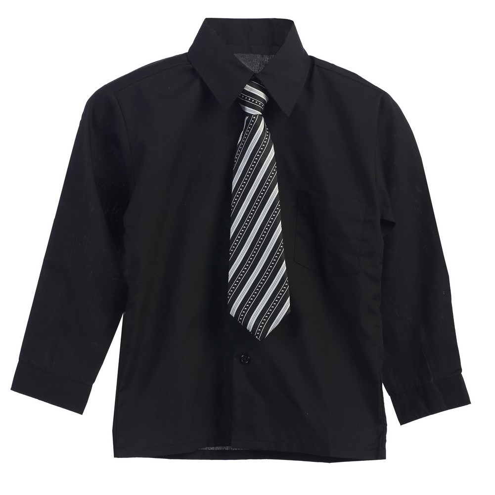 Big Boys Black Stripe Tie Long Sleeve Button Special Occasion Shirt