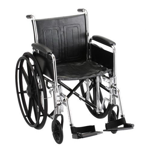 "Steel Standard Wheelchair Seat Size: 16"" W, Arm Type: Fixed Arms, Front Rigging: Elevating Leg Rests"