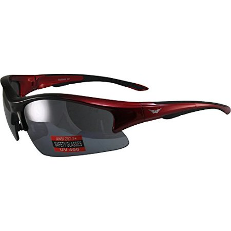 Global Vision Renegade Motorcycle Sunglasses Red Frame Flash Mirror -
