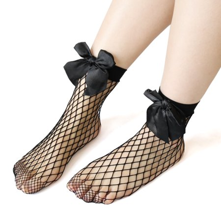 2 Pairs Ankle Mesh Elastic Hollow Out Fishnet Short Stockings Black