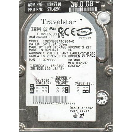 IC25N030ATCS04-0, PN 07N8363, MLC H32687, IBM 30GB IDE 2.5 Hard (Ibm Laptop Ide Hard Drives)