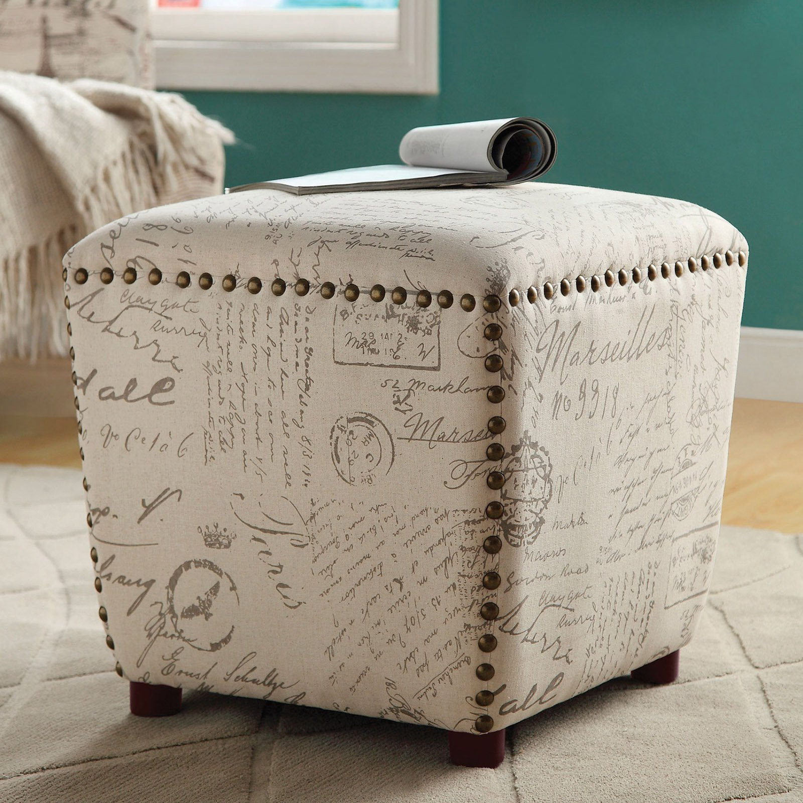 Coaster Company French Script Pattern Stool, Off-White/Grey