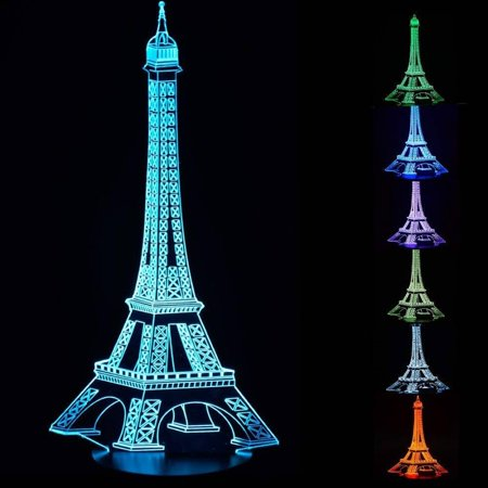 3D Optical Illusion Night Light - 7 LED Color Changing Lamp - Cool Soft Light Safe For Kids - Solution For Nightmares - Paris Eiffel Tower for $<!---->
