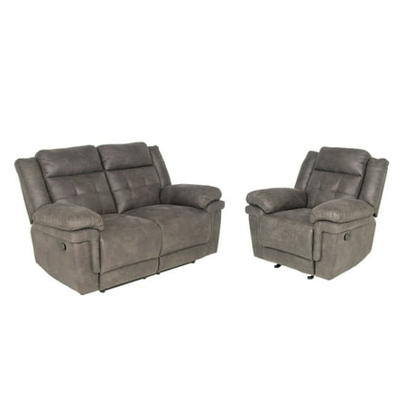 Sensational Anastasia 2 Piece Recliner Sofa Set With Loveseat And Chair In Gray Alphanode Cool Chair Designs And Ideas Alphanodeonline