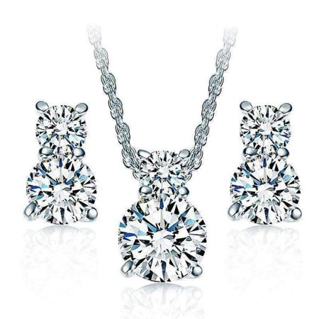 ON SALE - Wish Upon A Star IOBI Crystals Necklace and Earrings Set Platinum / Upgraded Luxurious Box