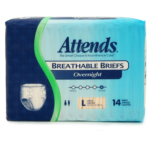 Attends Overnight Breathable Briefs, Large, 14 count