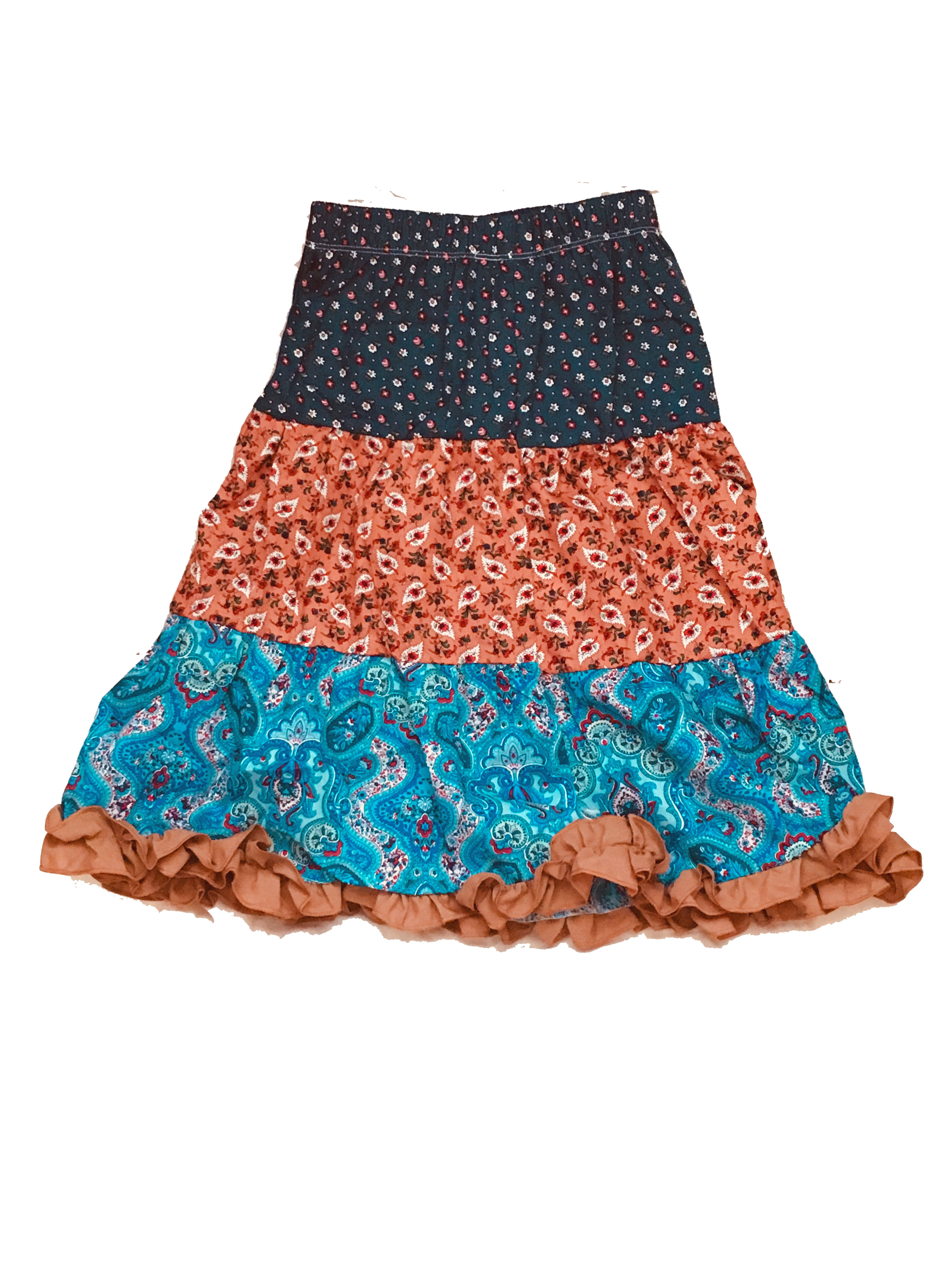 Girls' Long Flower and Paisley Peasant Skirt