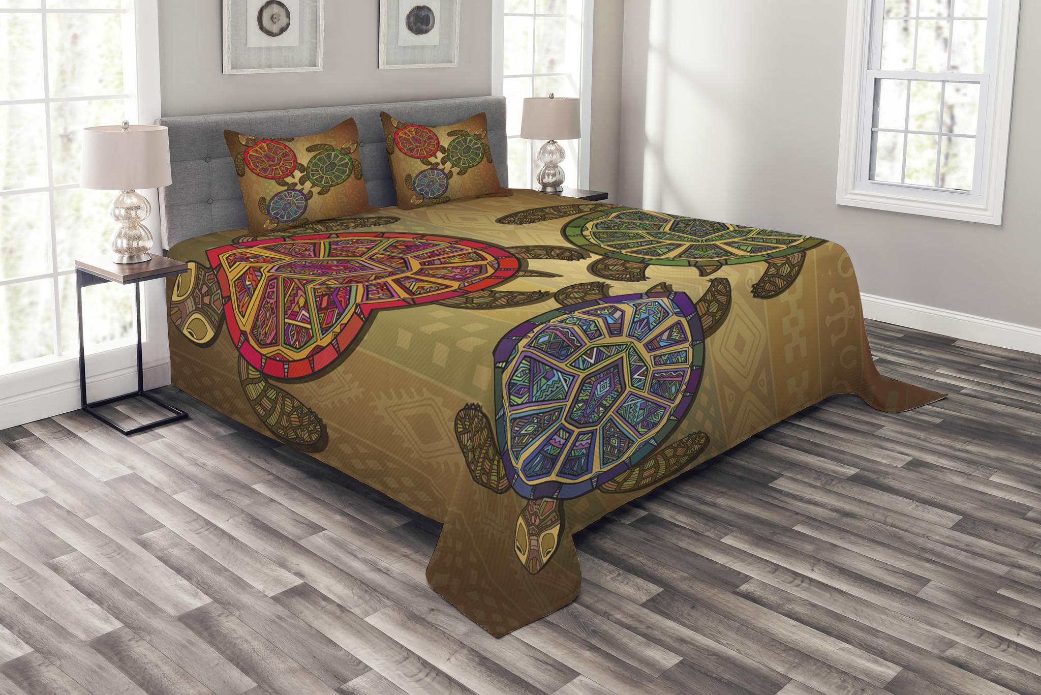 Three Turtles Ornamental Print Ethnic Quilted Bedspread /& Pillow Shams Set