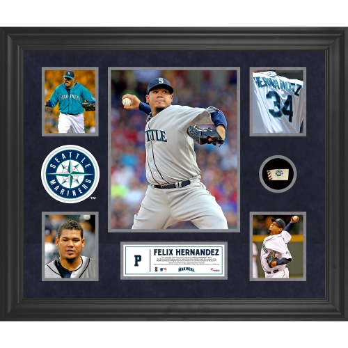 Felix Hernandez Seattle Mariners Fanatics Authentic Framed 5-Photograph Collage with Piece of Game-Used Ball - No Size