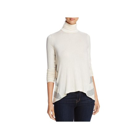 Three Dots Womens Sheer Hi-Low Turtleneck Top