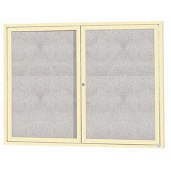 Aarco Products ODCC3648RIIV 48 inch W x 36 inch H Illuminated Outdoor Enclosed Bulletin Board - Ivory