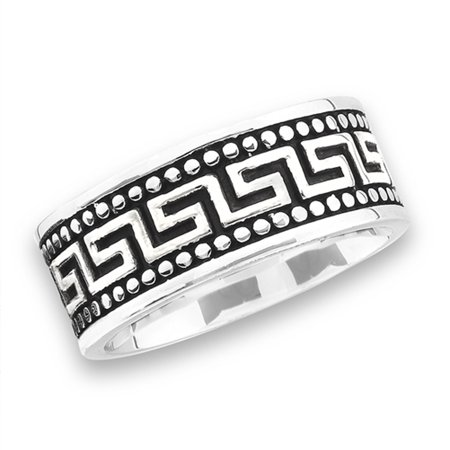 Bali Bead Design Greek Key Wedding Ring New Stainless Steel Wide Band Size 10