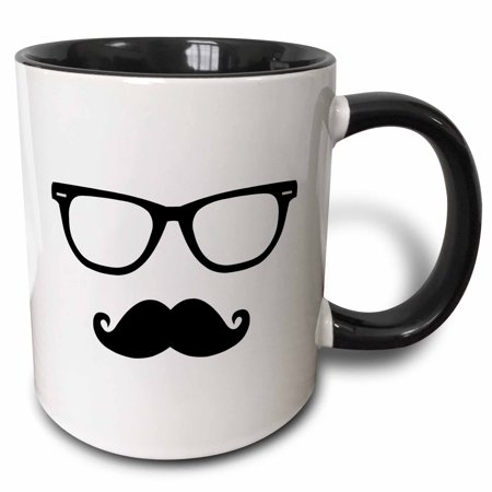 3dRose Hipster Glasses and Mustache - Two Tone Black Mug, 15-ounce](Glasses And Mustache)