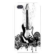 Apple Iphone Custom Case 4 4s White Plastic Snap on - Electric Guitar Black & White w/ Swirls & Circles Dripping Background