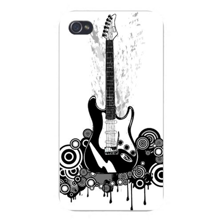 Apple Iphone Custom Case 4 4s White Plastic Snap on - Electric Guitar Black & White w/ Swirls & Circles Dripping -