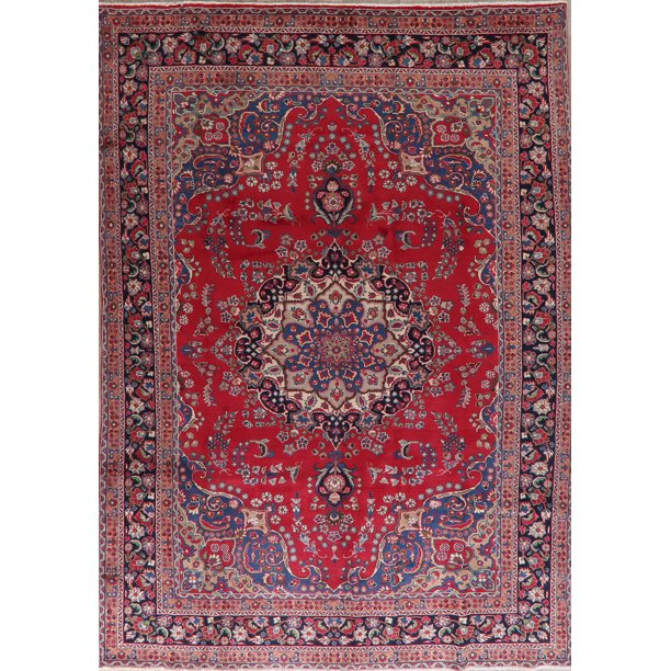 Black Friday Deal Red Floral Medallion Mashad Oriental Hand Knotted Wool Area Rug Living Room Carpet 8x11 Walmart Com Walmart Com
