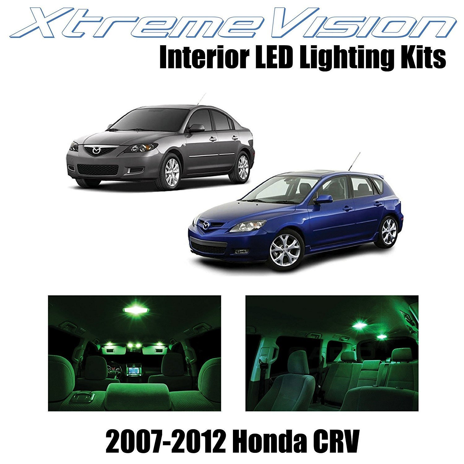XtremeVision LED for Mazda 3 MS3 2004-2009 (10 Pieces) Green Premium Interior LED Kit Package + Installation Tool