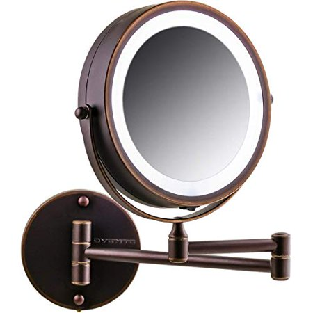 OVENTE Wall Mount LED Lighted Cosmetics Mirror, Battery Operated, 1x/10x Magnification, 7 Inch, Antique Bronze (MFW70ABZ1X10X)