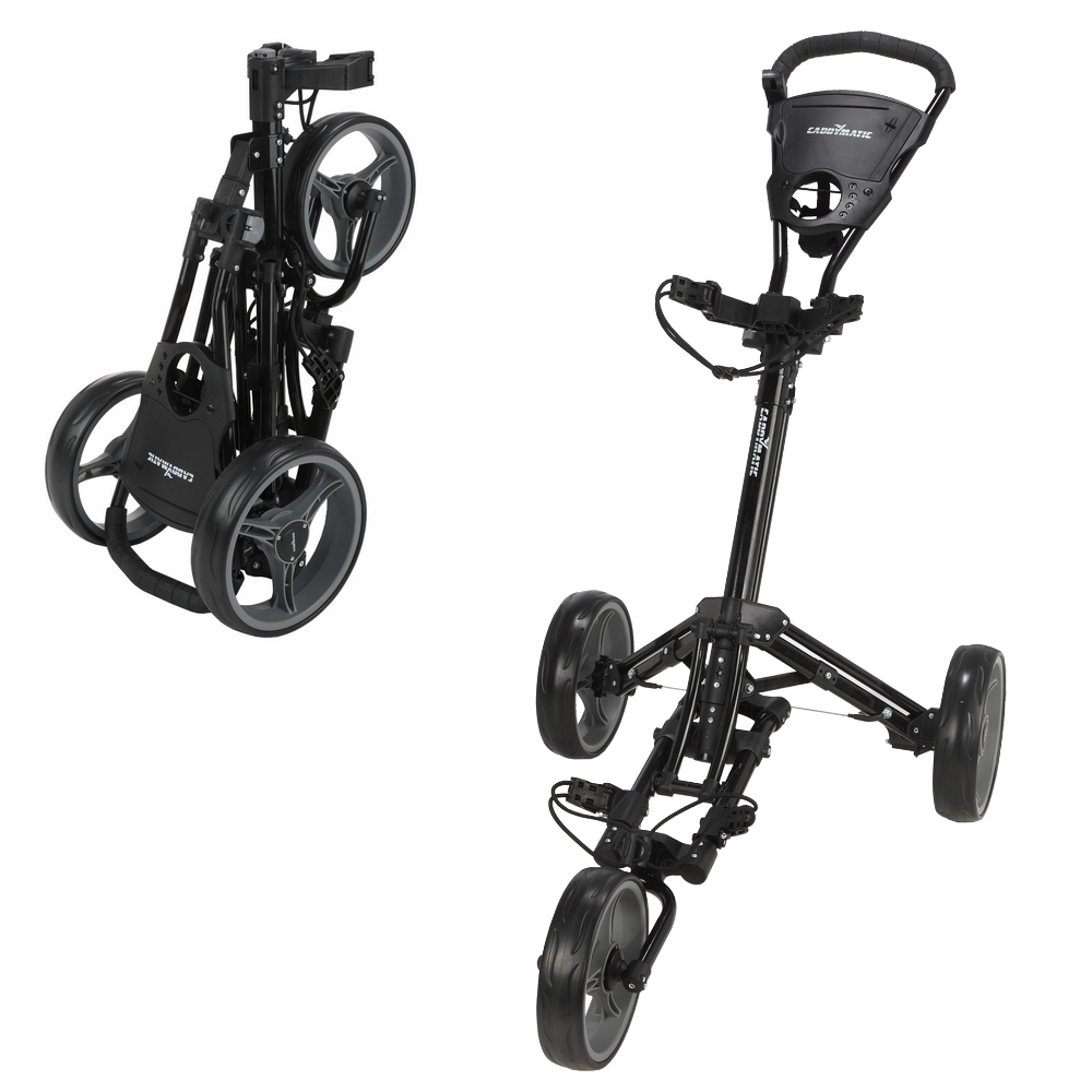 Click here to buy Caddymatic Golf X-Lite One-Click Folding Pull Push Golf Cart Black by Caddymatic.