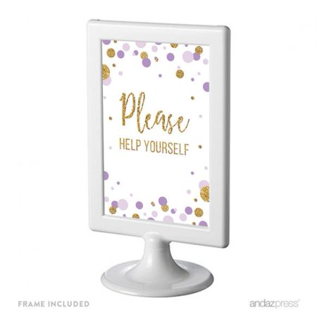 Please Help Yourself  Lavender Gold Glitter Baby Shower Framed Party Signs