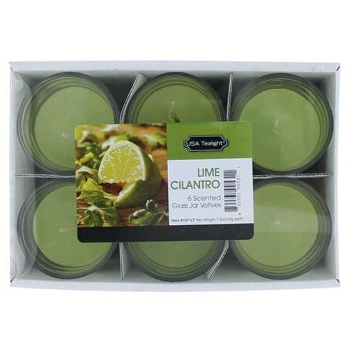 Lime Cilantro 1.5oz Glass Jar Votives Candle 6 Pack 9oz Total