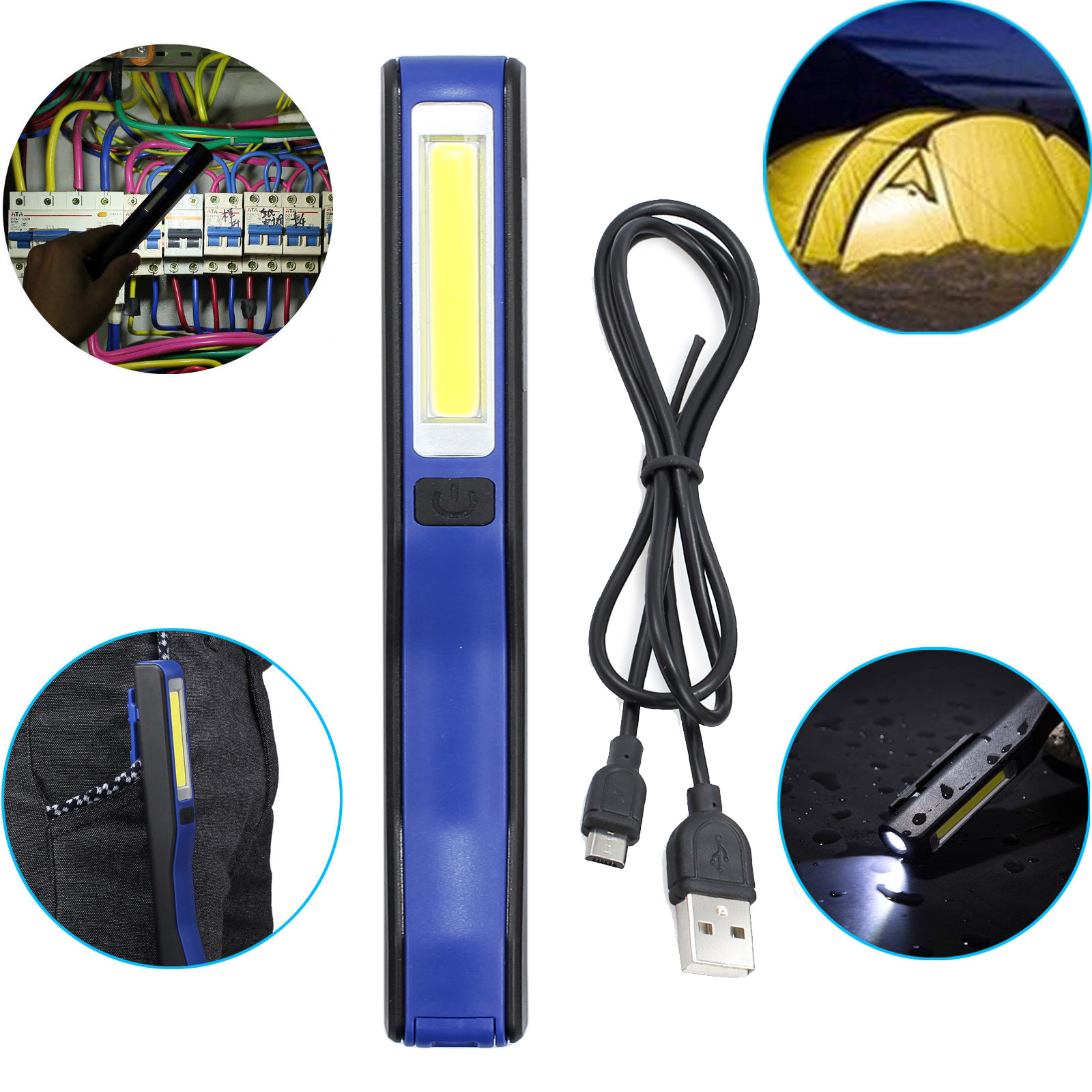 Portable Magnetic Rechargeable COB LED Work Light Flod Flashlight USB Torch Lamp