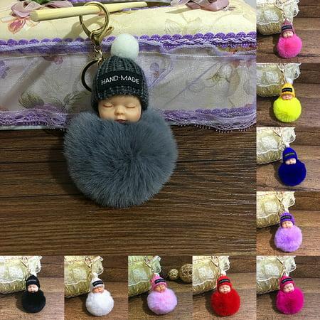 HiCoup Cute Fluffy Sleeping Baby Doll Pompom Car Key Ring Holder Keychain Bag - Cute Keychains For Car Keys