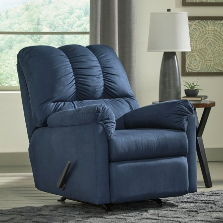 Flash Furniture Signature Design by Ashley Darcy Rocker Recliner in Blue Microfiber ()