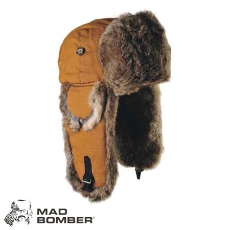 Mad Bomber Canvas Bomber Hat (2X)- Brn/Brn Rabbit ()