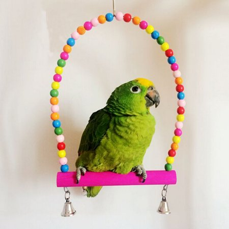 Moaere Bird Swing Toys Colorful Wood Beads Bells Wooden Hammock Hanging Perch Small Parakeet Cages Decorative Accessories