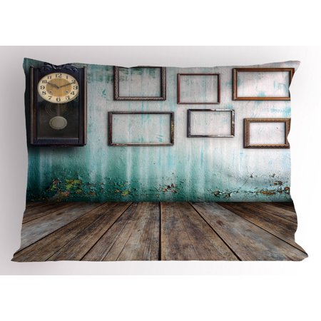 Clock Pillow Sham A Vintage Clock and Empty Picture Frames in an Old Room Wooden Backdrop Print, Decorative Standard King Size Printed Pillowcase, 36 X 20 Inches, Green and Brown, by Ambesonne Carpeted Case Picture King Tripod