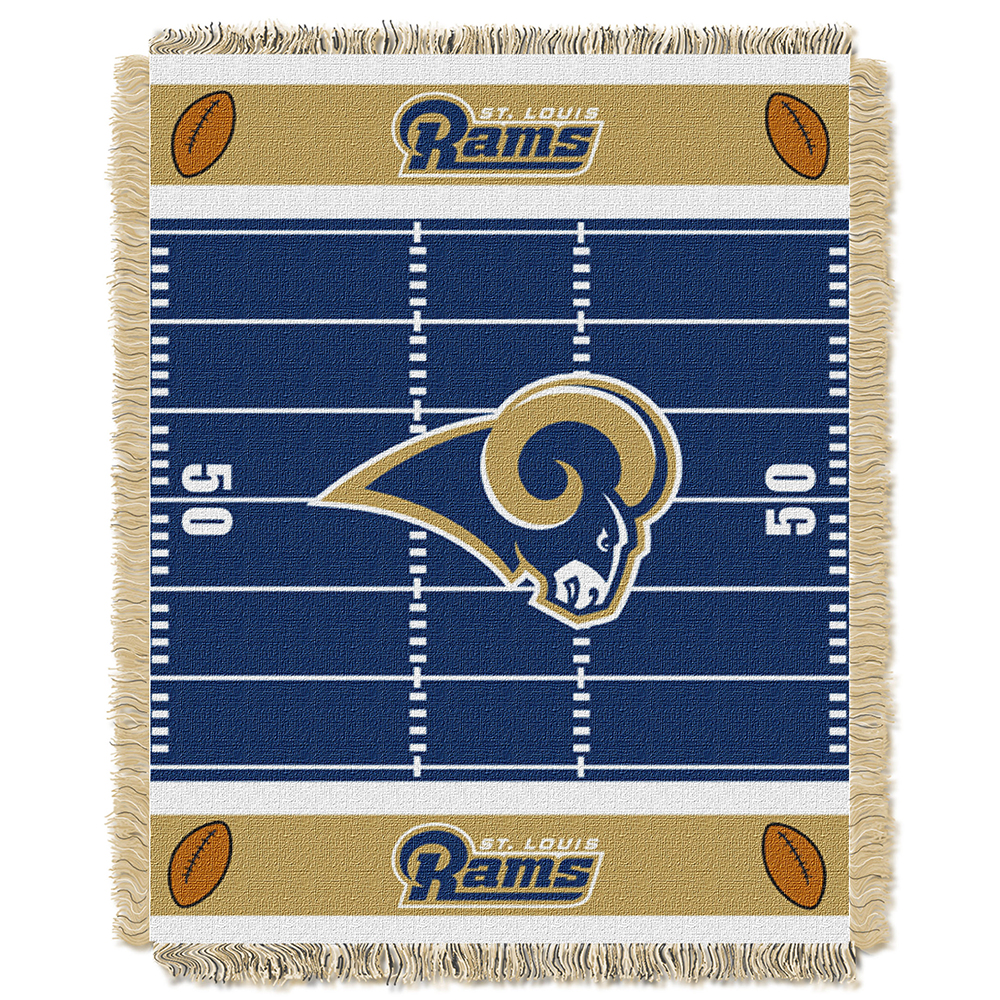 "Northwest NFL Rams Field Baby Woven Throw TEAM COLORS 36"" X 46"""