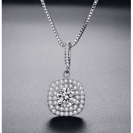 - ON SALE - Halcyon Austrian Crystal Double Halo Necklace White Gold