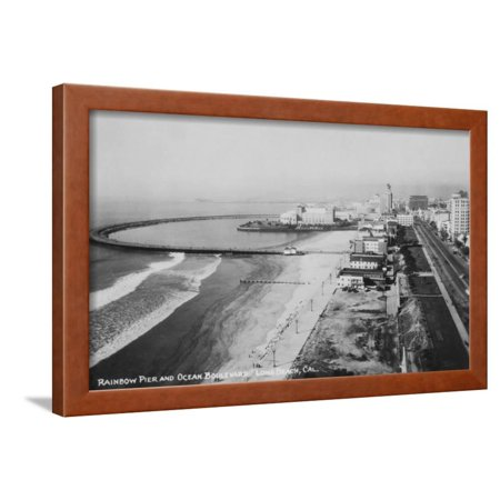 Long Beach, California Rainbow Pier and Ocean Blvd. Photograph - Long Beach, CA Framed Print Wall Art By Lantern Press ()