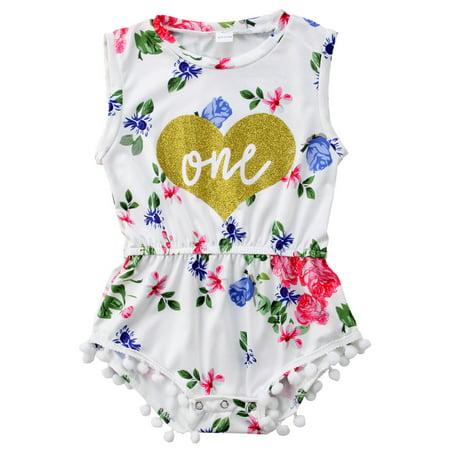 1st Birthday Outfit Girl (Baby Girls Summer Floral First Birthday Bodysuit Romper)