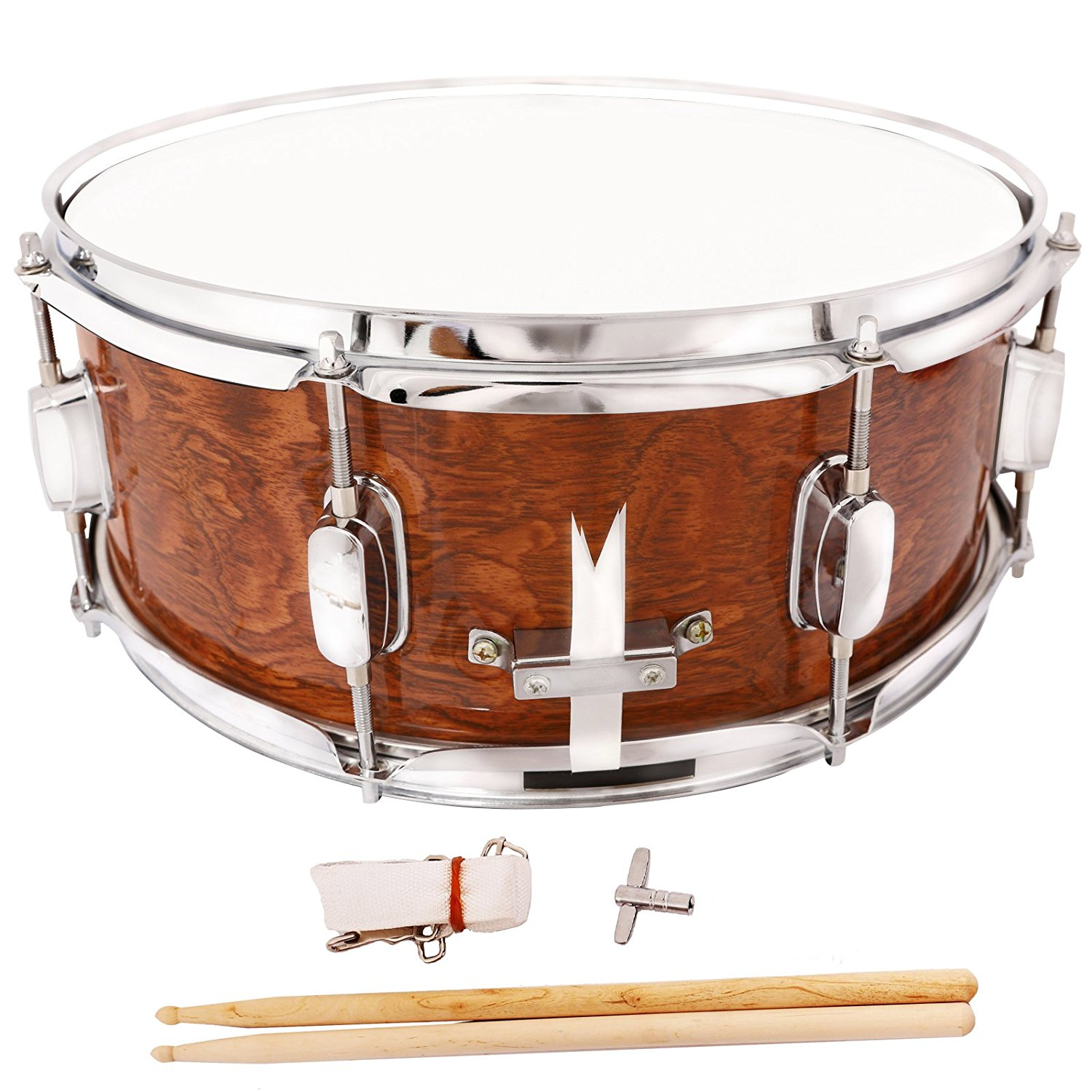 Marching Snare Drum Dark Wood Shell Percussion Poplar 14x5.5 Inch by