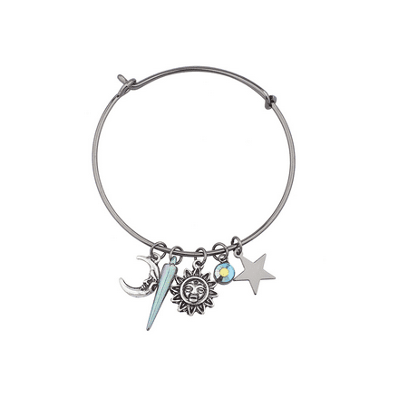 Lux Accessories Hemae Sun Moon Stars Sliding Charm Bangle Bracelet