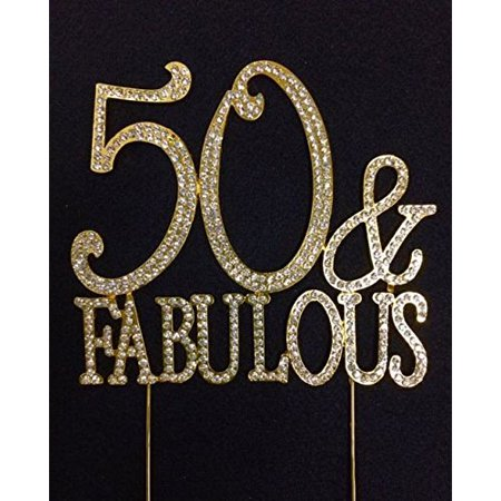 50th Birthday Cake Topper 50 and Fabulous Crystal Gold Bling Caketop - Fabulous Birthday