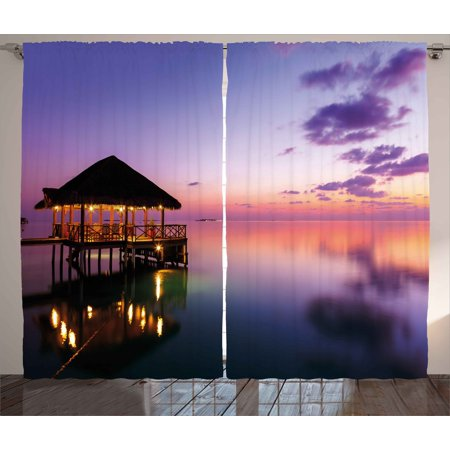 Exquisite Bedroom - Tropical Curtains 2 Panels Set, Arbor on Sea at Dramatic Night Paradise Maldives Sky Exquisite Coast View Art Print, Window Drapes for Living Room Bedroom, 108W X 96L Inches, Purple, by Ambesonne