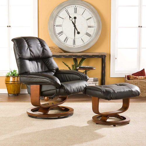 Canyon Lake Leather Recliner and Ottoman-Black
