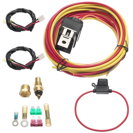 Dual Electric Fan Relay Wiring Harness Thermostat Sensor Kit 40 Amp Heavy -