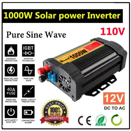 1000W/3000W/5000W/6000W Peak 12V DC To 110V AC Solar Power (Modified OR Pure) Sine Wave Inverter Converters Adapter Manual Switch Temperature Protection for Household Car Outdoor