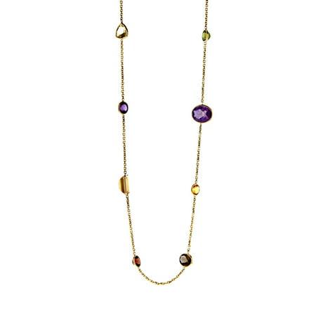 14k Yellow Gold Lemon Quartz Garnet Citrine Amethyst Smoky Quartz Gemstones Chain Necklace - 34