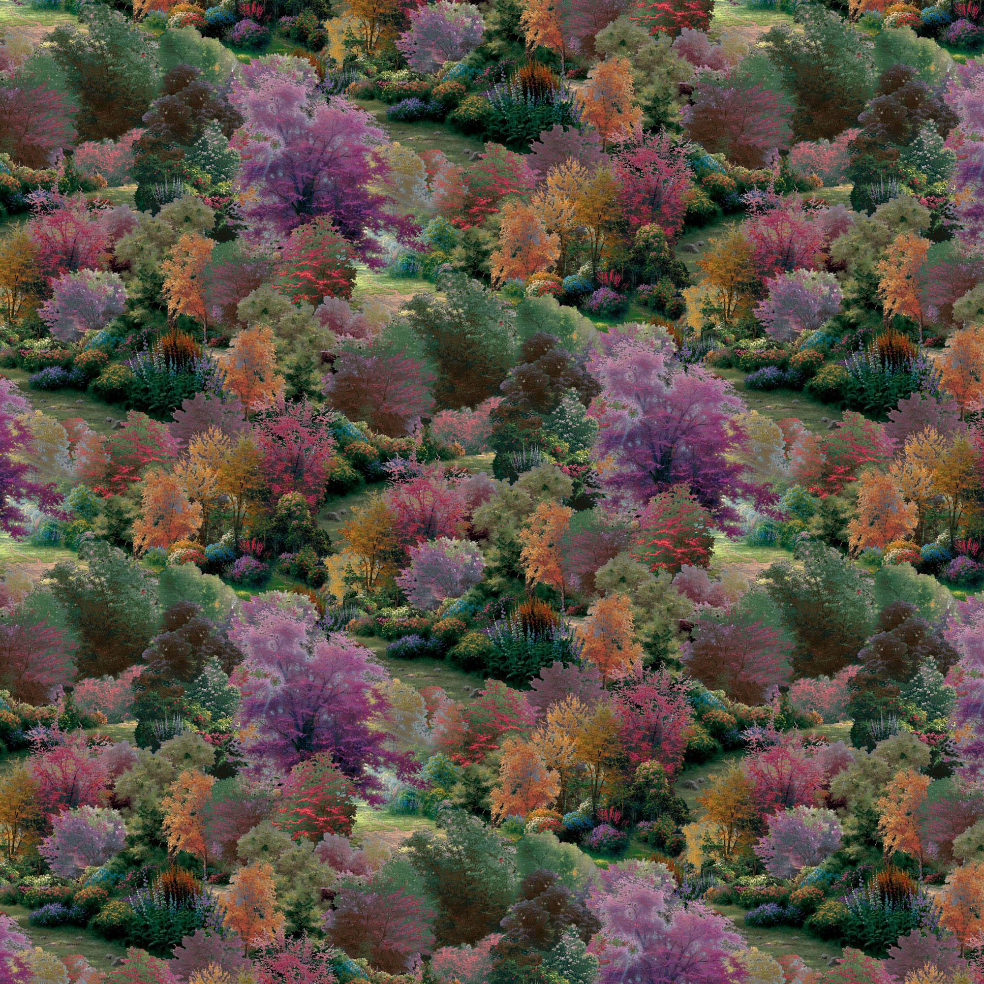 David Textiles, Inc. Thomas Kinkade Spring Landscape Cotton Fabric By The Yard