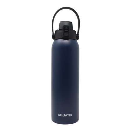 New Aquatix (Navy Blue, 32 Ounce) Pure Stainless Steel Double Wall Vacuum Insulated Sports Water Bottle Convenient Flip Top Cap with Removable Strap Handle - Keeps Drink Cold 24 hr/Hot 6 hr Double Notch Steel Strap