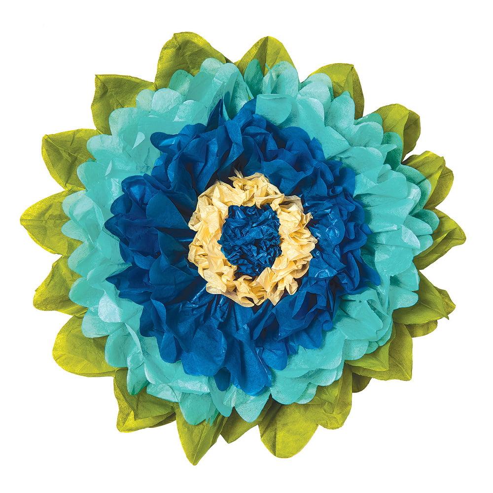 Luna Bazaar Extra Large Tissue Paper Flower (20-Inch, Cobalt Blue & Robin Egg)