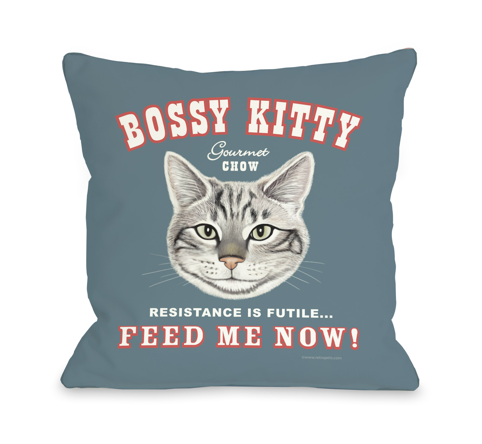 Bossy Kitty 16x16 Pillow by Retro Pets