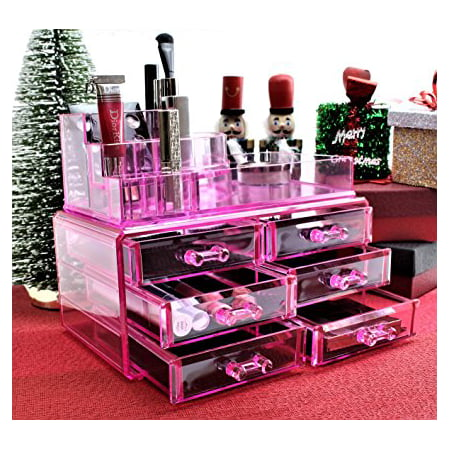 Pink Acrylic Cosmetics Makeup Jewelry Organizer 6 Drawers with 8 Compartments Top Section ( idea for Christmas, birthday
