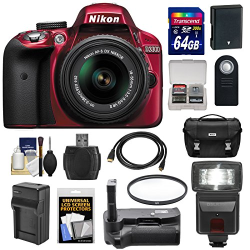 Nikon D3300 Digital SLR Camera & 18-55mm G VR DX II AF-S Zoom Lens (Red) with 64GB Card   Battery   Charger   Case   Gri