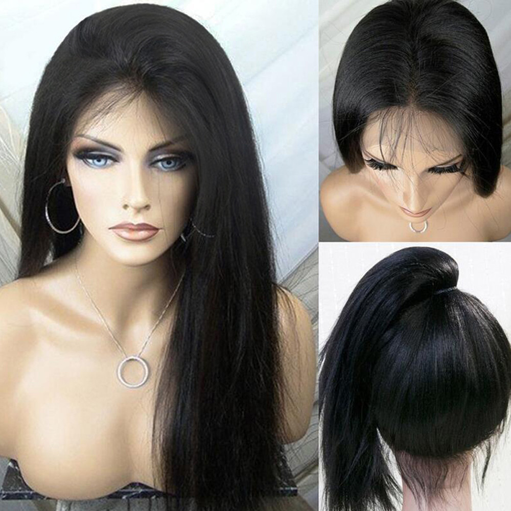 Tuscom Human Hair Wigs For Women Long Straight Lace Front Full Wig With Baby Hair